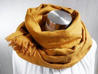 秋冬 あったか起毛リネンのストール ダーク マスタードの画像