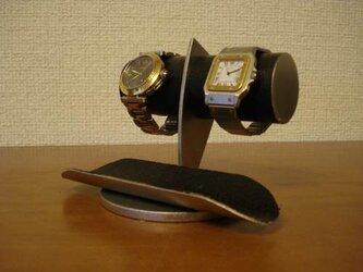 腕時計 飾る インテリア どっしりちょっと太めのパイプブラックコルク腕時計スタンド No.12320の画像