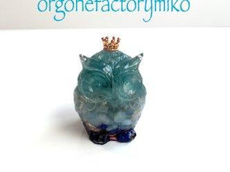 青い幸福フクロウ 幸運 癒し ラピスラズリ ブルーレース アクアマリン 幸運メモリーオイル入り オルゴナイト の画像