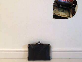 上質牛革  仕切り miniがま口財布◆お札2つ折りタイプ  黒Bニッケルの画像