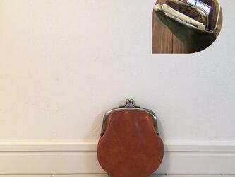 上質牛革 mini親子がま口財布◆ブラウン 丸型の画像