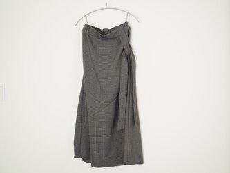 ❀グレンチェックリボンタイ付き切り替えスカート グレーxブラックの画像
