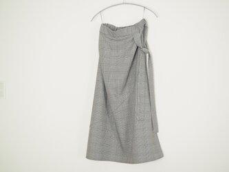 ❀グレンチェックリボンタイ付き切り替えスカート オフxブラックの画像
