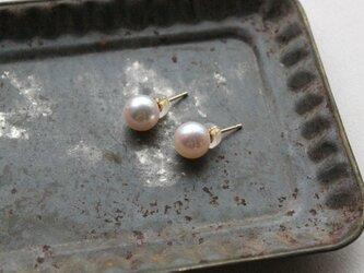 18K アコヤ真珠のピアス(7㎜)の画像
