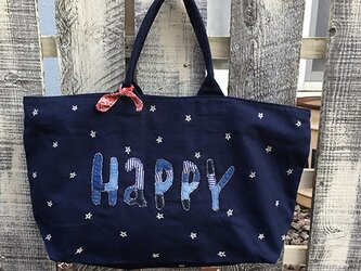 「HAPPYスター」ボストンバッグ(ネイビー)の画像