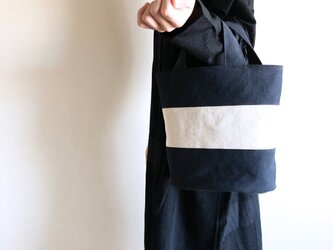 OVALTOTE - stripe - (M) / black & ecruの画像