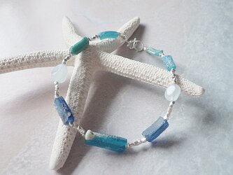 *sv925*Ocean Blue ローマングラス&アクアマリンのカレンシルバーブレスレットの画像