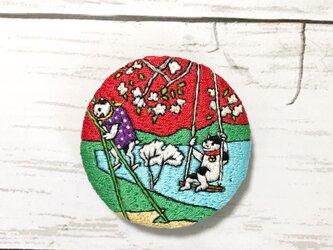 手刺繍浮世絵ブローチ*歌川国利「猫の戯」よりの画像