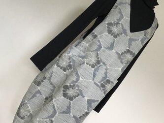 1015    着物リメイク コクーン ジャンバースカート     手織り紬の画像