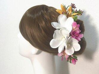 プルメリアとオレンジのオーキットのヘッドドレス 13点セット ウェディング 髪飾り アートフラワー 南の島 結婚式の画像