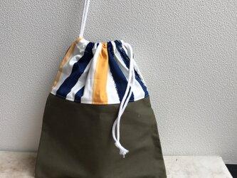 通園グッズ♪ストライプの巾着袋(BA-081)の画像