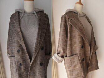 【受注製作】綿製 秋冬チェック柄スーツジャケットの画像