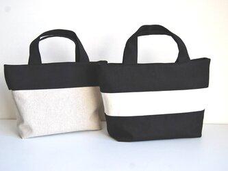 ⭐︎(黒)帆布のシンプルなリバーシブルミニトートバッグの画像
