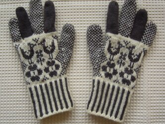 ◆◇フォークロア調の編み込み手袋◇◆(アンスラサイト)の画像