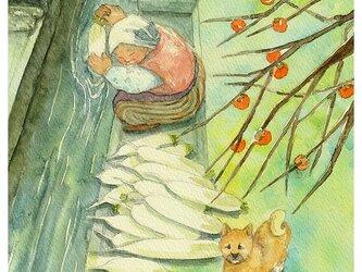 水彩画・原画「おばあちゃんと柴犬」の画像
