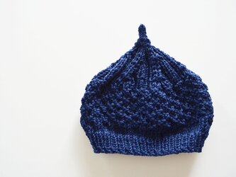 数量限定!どんぐりニット帽子 新作  ネイビーの画像