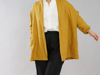 【wafu】中厚 リネン 羽織 トッパーカーディガン ショールカラー ポンチョ / マスタード h014a-mtd2の画像