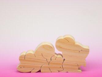 送料無料 ヒノキの組み木 ねずみの家族の画像
