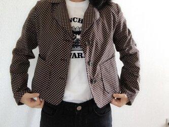 背が低い人のためのドットジャケット(チョコレート色)の画像