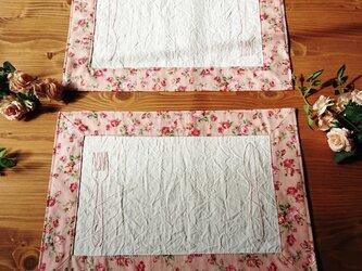 プレイスマット2枚セット リバーシブル ピンク 刺繍 薔薇の画像