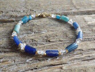 *14kgf*Roman Glass& Herkimer Crystal Sea Braceletの画像
