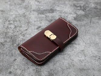【切線派】新作 ベルトの長財布 革 大容量牛革二つ折りボタン長財布 手染め / 総手縫いの画像