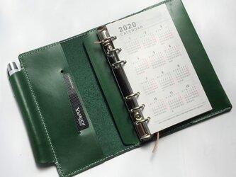 バイブル 筒状ペンホルダーのシステム手帳 ヌメ革生成り レザー 手帳 ノートの画像