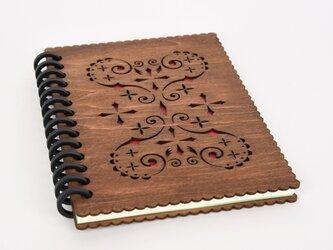木のノートブックH ハート(木製ルーズリーフ)の画像