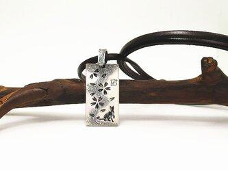 猫×桜 シルバーネックレス【和柄えす】の画像