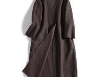 おしゃれの一枚 実用性も抜群 秋のロングコート ウール成分 三色チョコレートj101703の画像