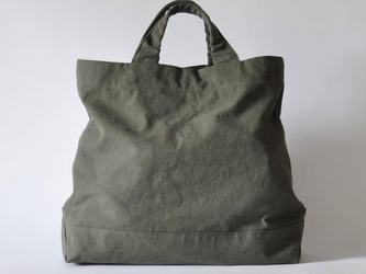 eighth note - tote (washed khaki) 帆布のトートバッグの画像