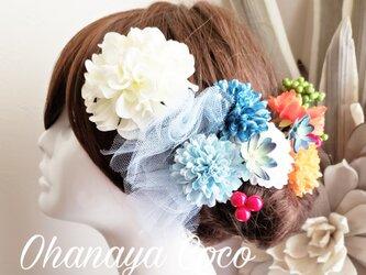 fuwafuwaチュールとダリアの髪飾り13点Set No629の画像
