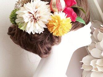 花姫 アンティーク風ダリアと椿の髪飾り7点Set No630の画像