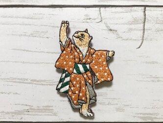 手刺繍浮世絵ブローチ*歌川国芳「流行猫の狂言づくし」よりの画像