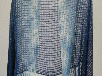 藍のちぢれ絹糸のやわらかショールの画像