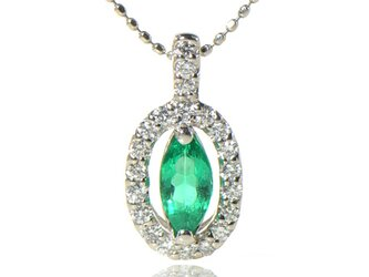 プラチナ900 上質 エメラルド×ダイヤモンド ペンダント トップ  YK-BB072CIの画像