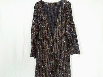 昭和レトロ 洋服屋さんの生地で作った ロングコート くろの画像