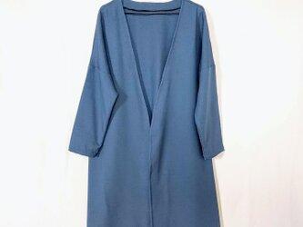 昭和レトロ 洋服屋さんの生地で作った ロングコート あおの画像