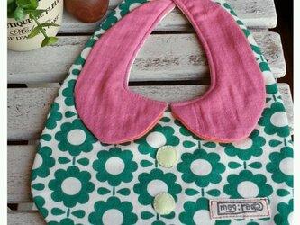丸襟スタイ レトロフラワー グリーン×ピンクの画像