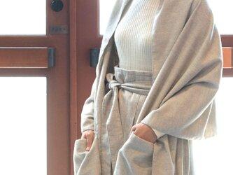 ヤク混ネル生地/ポケット付大判ブランケットストール【Organic Cotton+ヤク毛】の画像