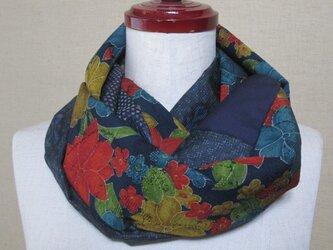 着物リメイク しょうざん花模様のシルクウール紬着物から作ったスヌードの画像