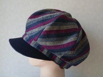 魅せる帽子☆ふんわり♪ストライプのキャスケット~ネイビー&ボルドーの画像