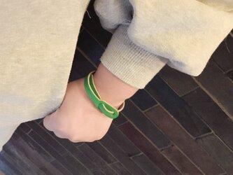 ▲COME カジュアルにキメル日の緑×灰「カムバック ブレスレット」こども~大人までOK(CBB-GH)の画像