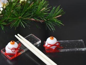 お正月 鏡餅の箸置きの画像