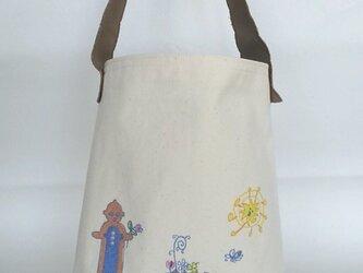 刺繍入り帆布ショルダーバッグ ハニィ&ドグゥ 花かざりの画像