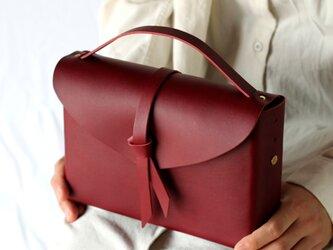 2way レザーボックスバッグ スリム #ワイン/ box bag slim #wineの画像