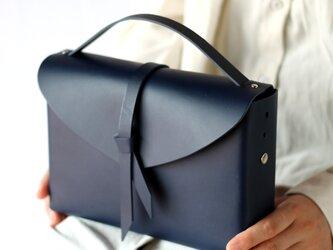 2way レザーボックスバッグ スリム #ネイビー/ box bag slim #navyの画像