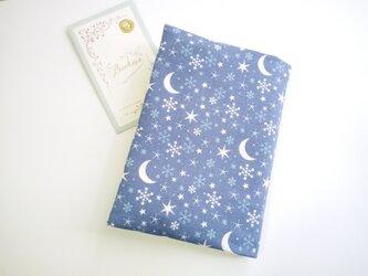 (オーガニックコットン)雪の日の夜空・・・☆ ブックカバー(文庫本用)の画像