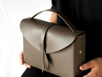 2way レザーボックスバッグ スリム #D.グレー/ box bag slim #D.grayの画像