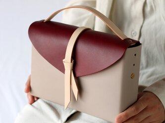 2way レザーボックスバッグ スリム #グレージュxワインxベージュ/ box bag slimの画像